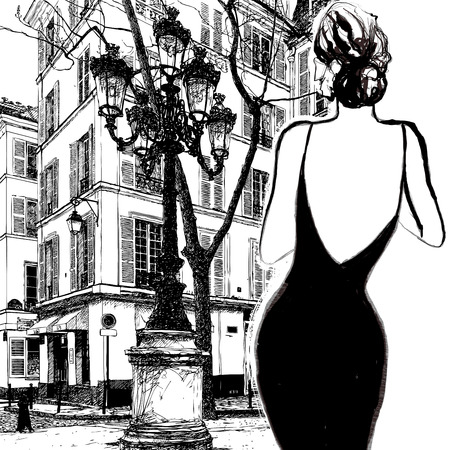 Ilustración de Young elegant woman in a black dress in Paris - Vector illustration - Imagen libre de derechos