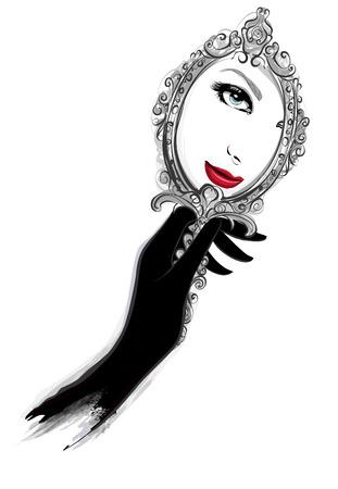 Illustration pour Woman with black gloves looking at a mirror - Vector illustration - image libre de droit