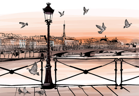 Photo pour Sunset on Seine river from Pont des arts in Paris - vector illustration - image libre de droit