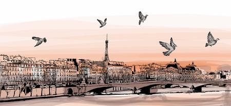 Illustration pour View of Paris from \Pont des arts\ - Vector illustration - image libre de droit