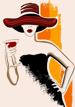 Illustration pour Pretty woman with large hat having cocktail - vector illustration - image libre de droit