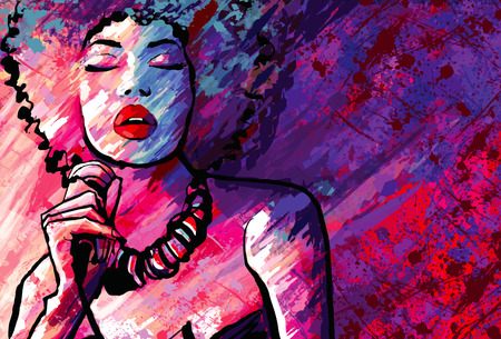 Illustration pour Jazz singer with microphone on grunge background - Vector illustration - image libre de droit
