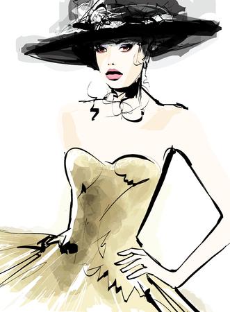 Illustration pour Fashion woman model with a hat - vector illustration - image libre de droit
