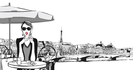 Illustration for Young woman having breakfast in Paris - Vector illustration - Royalty Free Image