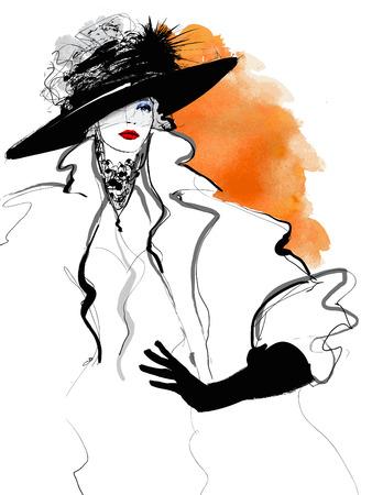 Ilustración de Fashion woman model with a black hat - illustration - Imagen libre de derechos