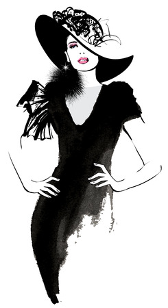 Ilustración de Fashion woman model with a black hat - illustration - Imagen libre de derechos