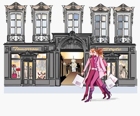Ilustración de Two young fashionable women shopping - vector illustration - Imagen libre de derechos