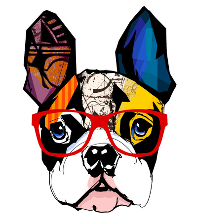 Ilustración de Portrait of french bulldog wearing sunglasses - Vector illustration - Imagen libre de derechos