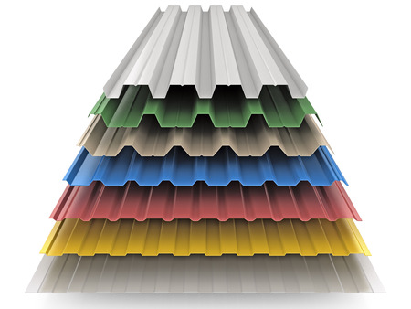 Photo for Steel colored goffered plates for roof decoration - Royalty Free Image