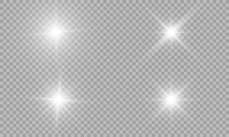 Ilustración de Set of glowing light effects with transparency isolated on plaid vector background. Lens flares, rays, stars and sparkles with bokeh collection - Imagen libre de derechos