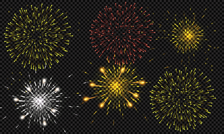Illustration for Festive patterned fireworks bursting in various forms, sparkling pictograms set against a black background Abstract. New Year and birthdays. Vector illustration - Royalty Free Image