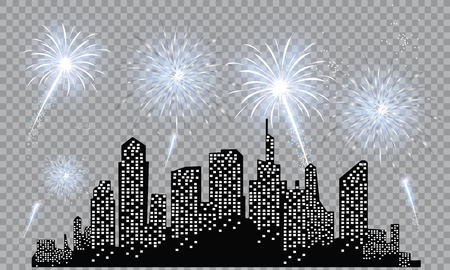 Illustration for Festive patterned fireworks in the city, bursting in various forms, sparkling pictograms Abstract. New Year and birthdays. Vector illustration - Royalty Free Image