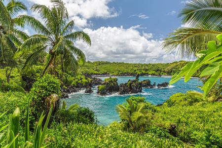 Photo pour Waianapanapa State Park, home to a black beach, a popular destination on the Road to Hana on Maui, Hawaii - image libre de droit