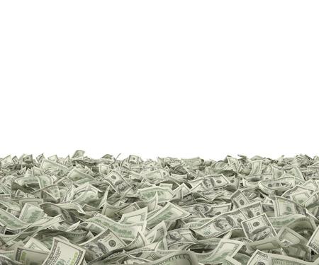 Foto de many hundred dollar bills falling on white background - Imagen libre de derechos