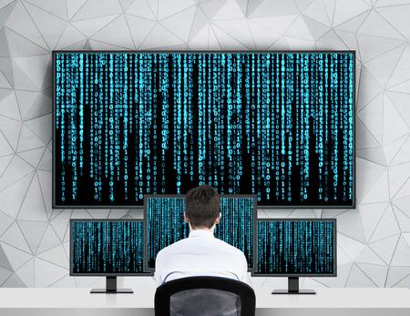 Photo pour businessman looking to screen with matrix background - image libre de droit