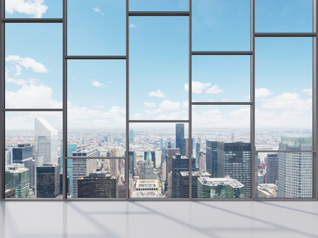 Photo pour office with big window with view to city, 3d render - image libre de droit