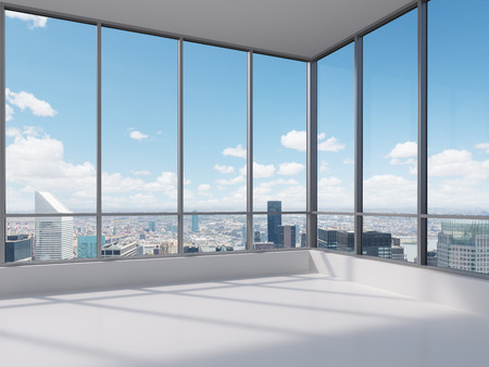 Photo for office with big window, 3d render - Royalty Free Image