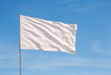 Photo pour Waving white flag  on a sky background - image libre de droit