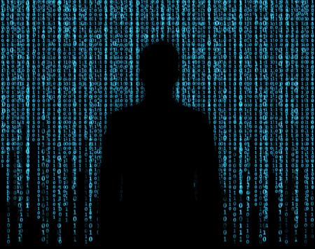 Photo pour silhouette businessman who is appeared through the matrix background - image libre de droit