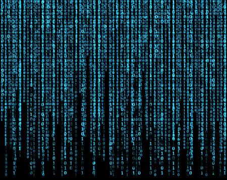Photo pour big virtual screen with blue matrix - image libre de droit