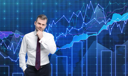 Photo pour Trader is standing in front of the forex graph. A metaphor of international financial consulting. Blue background. - image libre de droit
