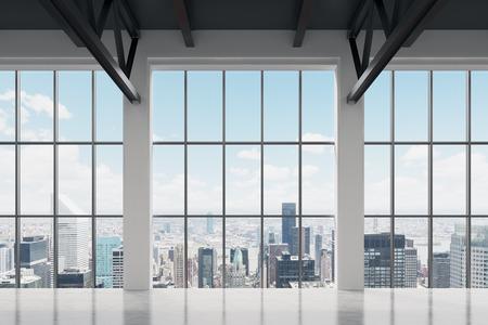 Photo pour Contemporary office space with New York view. A concept of financial success. - image libre de droit