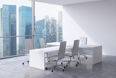 Photo for Modern office interior with huge windows and Singapore panoramic view. White leather on the chairs and a white table. A concept of CEO workplace. 3D rendering. - Royalty Free Image