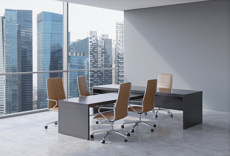 Photo for Modern office interior with huge windows and skyscraper panoramic view. Brown leather on the chairs and a black table. A concept of CEO workplace. 3D rendering. - Royalty Free Image