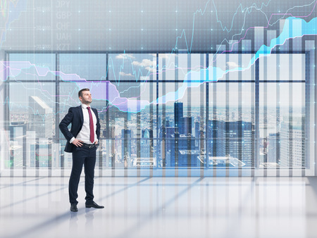 Photo for Full-length confident person in formal suit. A modern panoramic office with New York city view and forex chart. A concept of the asset management. - Royalty Free Image