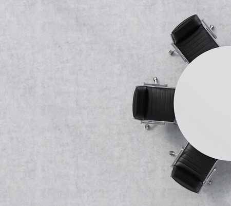 Photo pour Top view of a half of the conference room. A white round table, three black leather chairs. Office interior. 3D rendering. - image libre de droit
