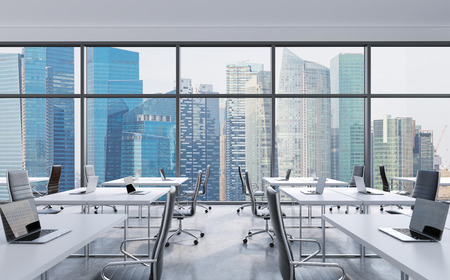 Photo pour Workplaces in a modern panoramic office, Singapore city view from the windows. Open space. White tables and black leather chairs. A concept of financial consulting services. 3D rendering. - image libre de droit