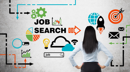 Photo for Rear view of the brunette woman who is looking at the wall with colourful icons about job vacancies. A concept of recruitment process. Internship and graduate programmes. Concrete wall. - Royalty Free Image