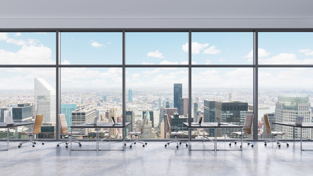 Photo for Workplaces in a modern panoramic office, New York city view in the windows, Manhattan. Open space. Black tables and brown leather chairs. A concept of financial consulting services. 3D rendering. - Royalty Free Image
