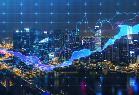 Photo pour Panoramic evening New York view with the digital financial chart. A concept of the professional financial services. - image libre de droit