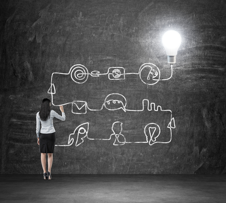 Foto de A rear view of a brunette lady who is drawing a process of business idea's development. A flowchart is drawn on the black chalkboard with different stages of development. A concept of a brainstorm. - Imagen libre de derechos