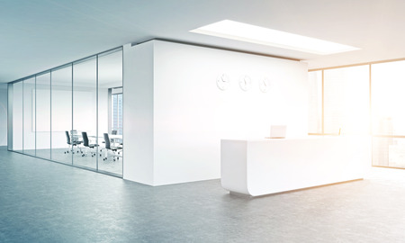 Photo pour Empty office, white reception at white wall, three clocks on it. Panoramic window right, meeting room behind. Filter, toned. Concept of reception. 3D rendering - image libre de droit