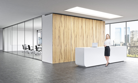 Photo for Office, white reception at wooden wall. Businesswoman in front. Panoramic window right, meeting room behind. Concept of reception. - Royalty Free Image