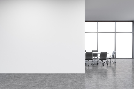 Foto de Empty office, white wall in front of panoramic window, table for meetings. Concept of new office. 3D rendering - Imagen libre de derechos