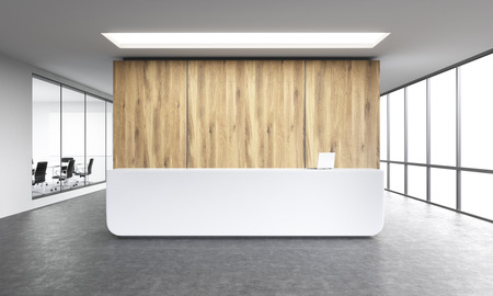 Photo for Empty office, white reception at wooden wall. Panoramic window right, meeting room left. Concept of reception. 3D rendering - Royalty Free Image