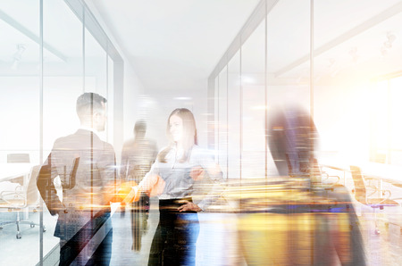 Businesspeople shaking hands in office. Double exposure