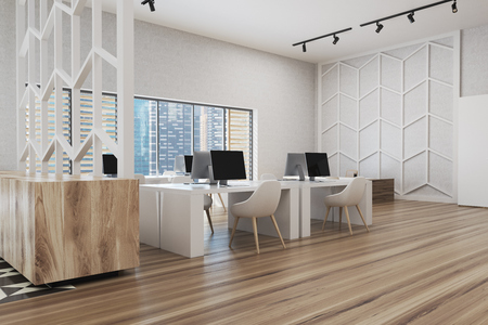 Photo pour Wooden floor office corner with white walls, panoramic windows, white and wooden computer tables and a patterned wall. 3d rendering mock up - image libre de droit