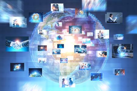 Foto de Earth hologram with many business pictures over it. Hi tech concept. Toned image double exposure. - Imagen libre de derechos