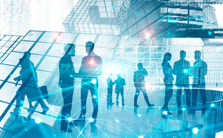 Photo for Silhouettes of business people communicating over abstract city background with double exposure of connection interface. Concept of HR and digital technology. Smart city. Toned image - Royalty Free Image