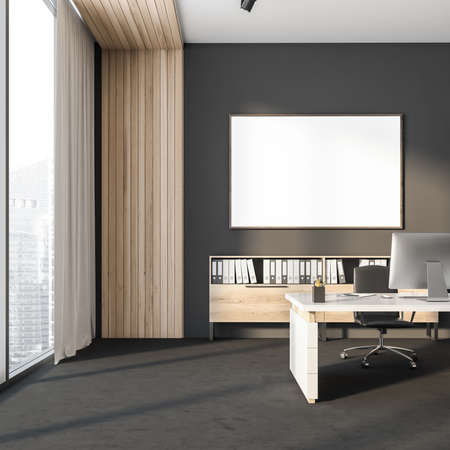 Dark office room interior with empty white poster, panoramic window, desktop, armchair, desk, bookshelves and concrete floor. Concept of ceo workspace. Perfect place for working process. 3d rendering