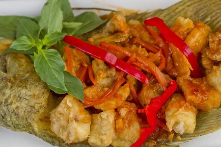 Ikan gurame goreng asam manis, fried gurame fish with sour and sweet sauce