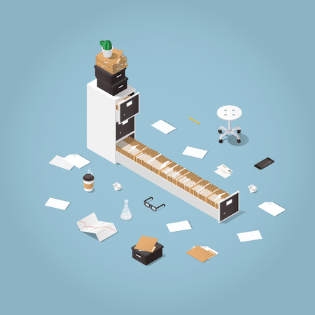 Ilustración de A Vector isometric concept illustration. Opened file storage cabinet with lost of patients files and documents with medical office supplies around. Illustration of doctors office. - Imagen libre de derechos