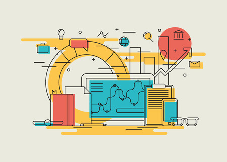Illustration pour Vector illustration of workflow. Work day at office illustration. Laptop, documents, gadgets and office supplies with abstract infographic charts and diagrams on the background. Minimal linear style. - image libre de droit