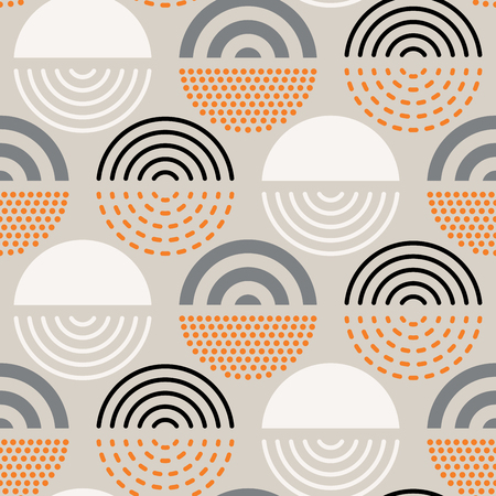 Illustration pour Vector seamless mid century absctract geometric pattern. Polygonal retro design. - image libre de droit