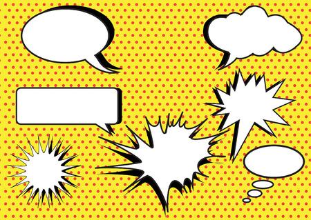 Illustration pour group of conversation bubbles on yellow polka dot backgrounds - image libre de droit