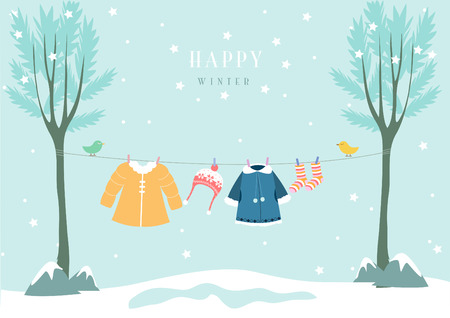 Illustration pour winter clothes in snow forest, Design for baby cards - image libre de droit